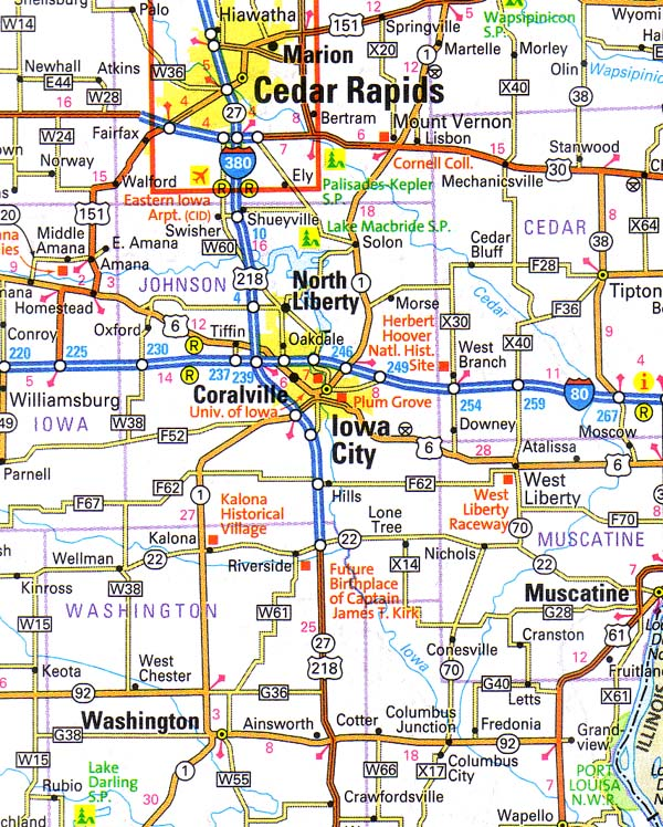 iowa map near iowa city